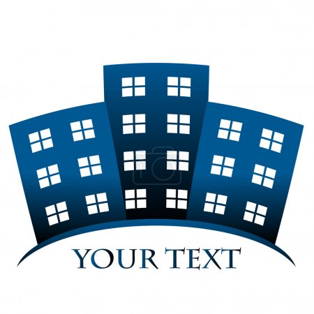 Illustration for Vector blue symbol of buildings and space for your text - Royalty Free Image