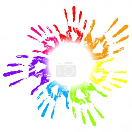 Illustration pour Illustration vectorielle des empreintes de mains coloré - image libre de droit
