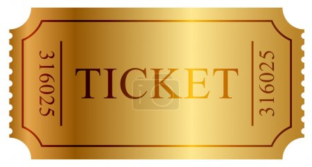 Illustration for Vector illustration of gold ticket - Royalty Free Image