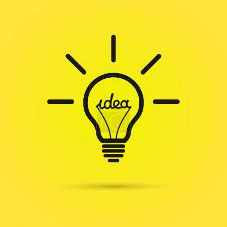 Illustration for Effective thinking concept – bulb icon with innovation idea. Vector. - Royalty Free Image