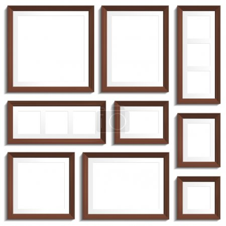 Photo for Vector empty frames of wenge wood in various standard formats. - Royalty Free Image