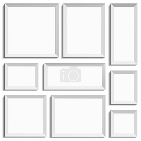 Photo for White isolated empty frames in international paper size in vector format. - Royalty Free Image