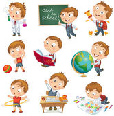Cute schoolchild at a lesson of geography literature physical education biology chemistry drawing