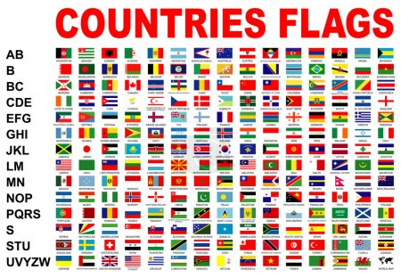 Photo pour Ensemble de drapeaux de pays avec alphabet - image libre de droit