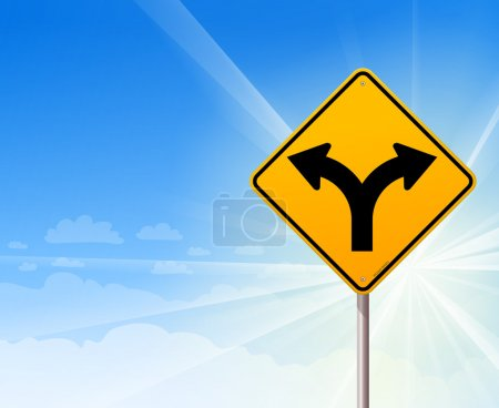 Illustration for Yellow roadsign of forked road on a blue sunshine background - Royalty Free Image