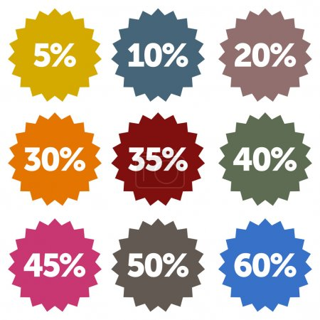 Illustration for Colorful discount star labels within a nine piece set - Royalty Free Image