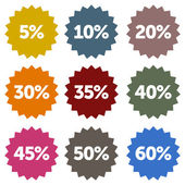 Colorful discount star labels within a nine piece set