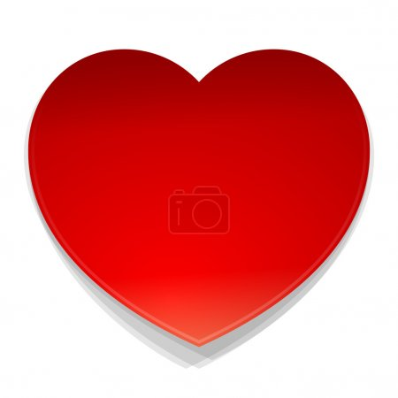 Illustration for Isolated illustration of red heart as a love symbol on white background - Royalty Free Image