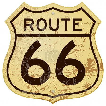 Illustration for Vintage roadsign illustration full of rust and scratches - Royalty Free Image