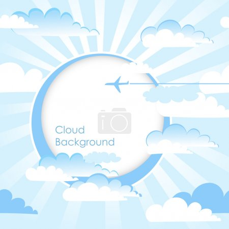 Travel frame, Blue sky with clouds