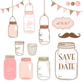 Glass Jars frames and cute seamless backgrounds