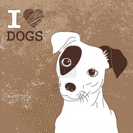 Illustration for Cute Jack Russell Terrier. Brilliant card for doglovers! - Royalty Free Image