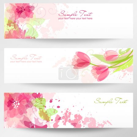 Illustration for Set of three banners. Beautiful floral headers - Royalty Free Image
