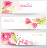 Set of three banners Beautiful floral headers