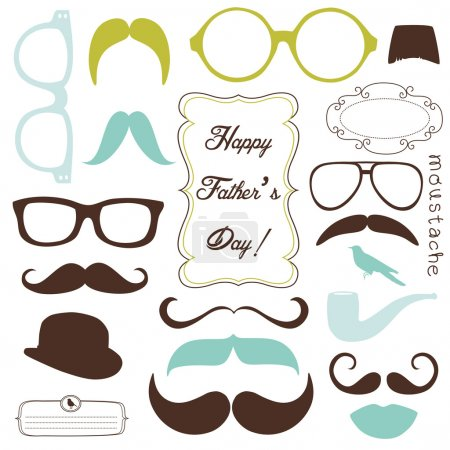 Illustration for Happy Father's day background, spectacles and mustaches, retro style - Royalty Free Image