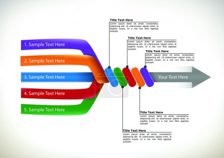 Colourful presentation flow chart showing five div...