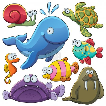 Illustration for Cartoon illustration of various sea animals collection - Royalty Free Image