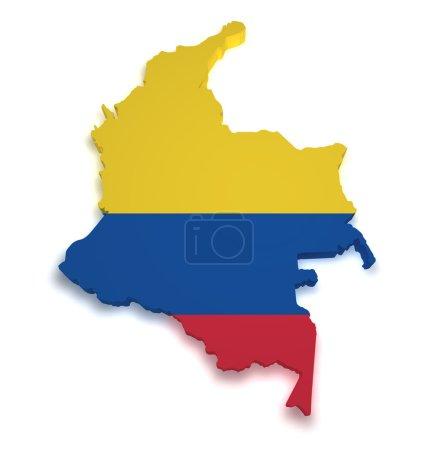 Photo pour Forme 3d du drapeau colombien et carte isolée sur fond blanc . - image libre de droit