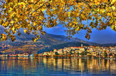 Landscape in fall autumn, city view with blue sky