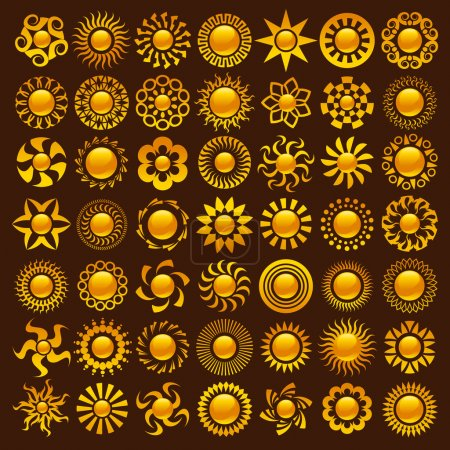Illustration for Collection of vector colorful sun designs. - Royalty Free Image
