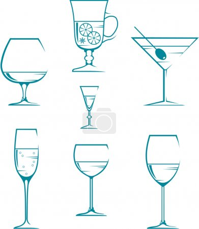 Illustration for Set of symbols and icons glasses for alcoholic drinks - Royalty Free Image