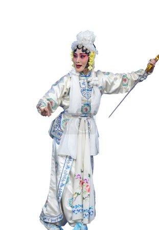 Photo pour Jolie actrice d'opéra taditionelle chinoise avec fond blanc isolé - image libre de droit