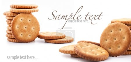 Photo for Round crackers on white background, close up, macro (with sample text) - Royalty Free Image