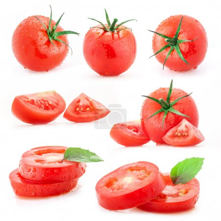 Photo for Collection of tomatoes and sliced with water drops, isolated on white background - Royalty Free Image