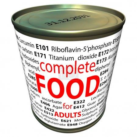 Photo pour Caricature de can avec numéros « e » de certains additifs alimentaires. thème de la nourriture saine et de la chimie. - image libre de droit