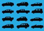 Various city cars silhouettes isolated on blue background