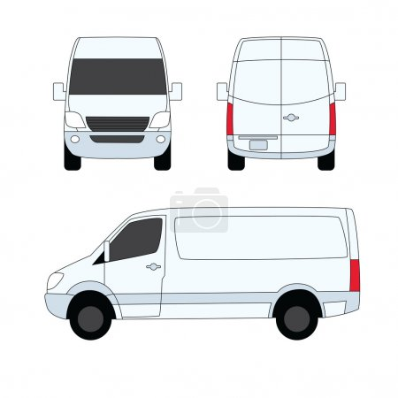 Illustration for Delivery van white three sides vector illustration - Royalty Free Image
