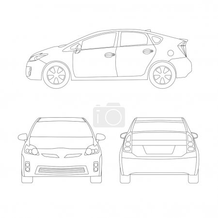 Illustration for Medium size city car three side views vector illustration. Line art, blueprint style. Isolated on white. - Royalty Free Image