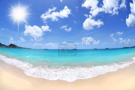 Photo pour Tropical Caribbean Island Beach par une journée ensoleillée - Fisheye - image libre de droit