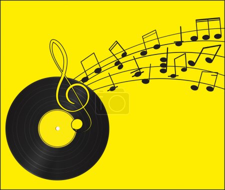 Music. Vinyl record. Treble clef and notes for your design