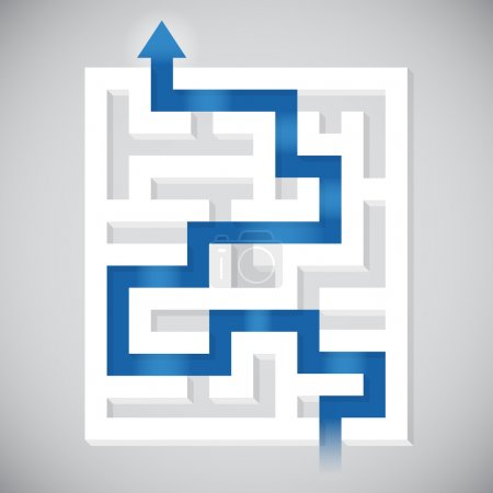 Finding a path maze solution concept illustration....