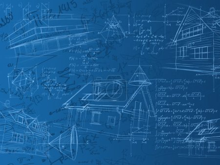 Blue calculation notes, formulas and sketches