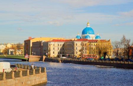 Panorama of Neva Embankment of St. Petersburg.