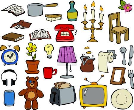 Illustration pour Articles ménagers éléments de conception doodle illustration vectorielle - image libre de droit