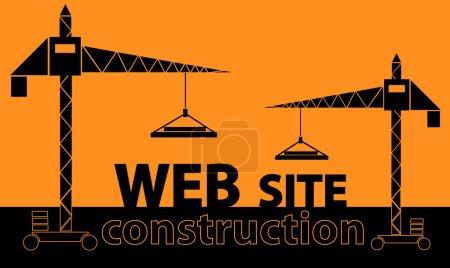 Illustration pour Illustration du couple grues bâtiment texte « site web » sur fond orange - image libre de droit
