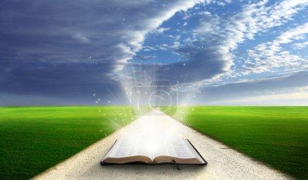 Photo pour Bible ouverte dans un champ avec des collines herbeuses verdoyantes . - image libre de droit