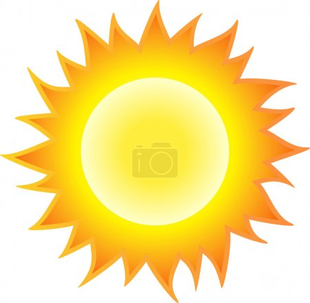The sun burning like flame. Isolated on white back...