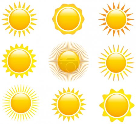 Illustration for Set of glossy sun images. Vector illustration - Royalty Free Image