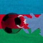 Football ball on the national flag of Azerbaijan...