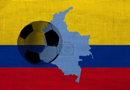 Football ball on the national flag of Colombia...