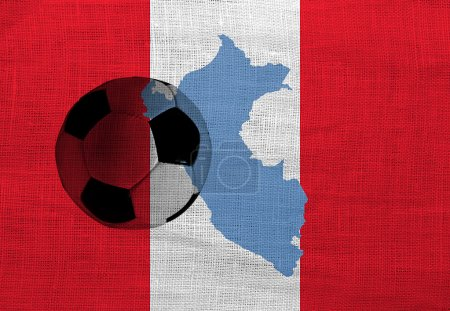 Football ball on the national flag of Peru...