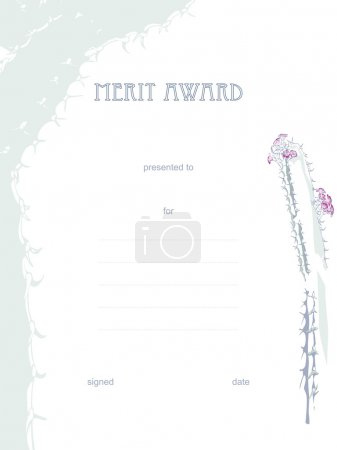 Illustration for Cactus Theme Merit Certificate - Royalty Free Image