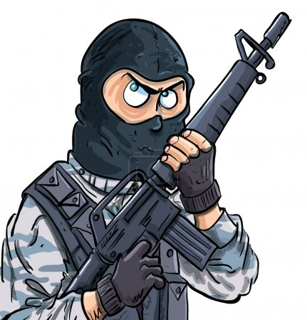 Cartoon SWAT member with a gun