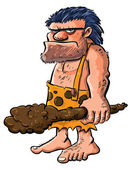 Cartoon caveman with a clubIsolated on white