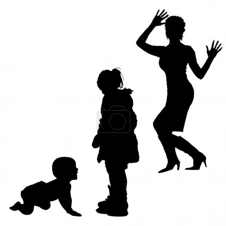 Silhouette of women and childrens