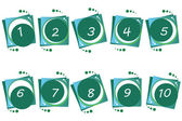 Vector green buttons numbers from 1 to 10